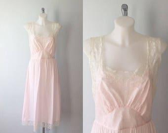 Vintage Godfried Original Pink Nightgown, Cotton Nightgown, 1970s Nightgown, Vintage Nightgown, Romantic,  Godfried,