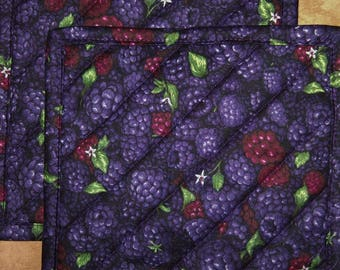 """Pick a Print-Set of 2 (8"""")  Bandanna-Blackberries-Snacks-Farm to Table-Quilted-Handmade-Insulated-Hot Pads-Pot Holders--Made in USA"""
