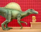 Dinosaur art print, kitchen or kids wall art: Dino Burger