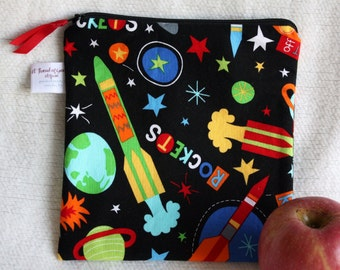 """Reusable Sandwich / Snack Bag - 7.5"""" x 7.5""""- Certified Food Safe PUL lined, Zippered, Machine Washable, Rocket / Space Motif"""