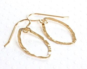 Geometric Earrings, Gold Dangle Earrings, Gold Marquise Earrings, Gold Filled Earrings, Handcrafted Jewelry, Artisan Jewelry for Women
