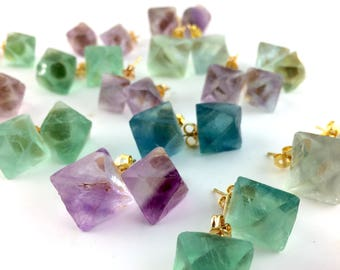Raw Crystal Stud Earrings - Rainbow Fluorite Crystal Jewelry - Gemstone Stud Earrings - Boho Earring Studs - Large Stone Jewelry