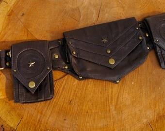 Tactical Star  Dieslepunk Steampunk Bomber Leather Utility Belt Bag