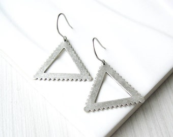 Silver Triangle Dangle  Earrings, Modern Jewelry, Nickel Free Titanium, Contemporary, Metal, Drop, Satin, Matte