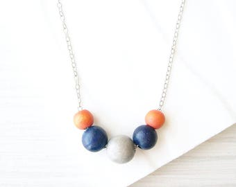 Wood Necklace, Nickel Free Sterling Silver Option, Navy Blue, 5th Anniversary Gift, Modern Jewelry, Orange, Colorful, Grey, Multicolor