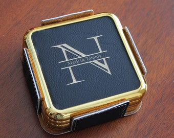 Personalized Engraved Leather Coaster Set, Black leather coaster with Gold Edge, Engraved Coaster Set, Personalized coaster set