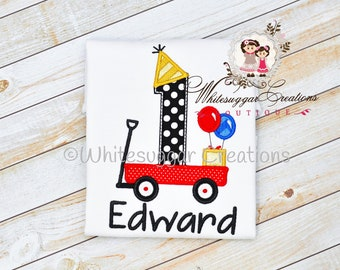 Boys First Birthday Shirt - Newborn Personalized Shirt - Baby Boy 1st Birthday Outfit - Wagon Toddler Shirt - One Year Old Outfit