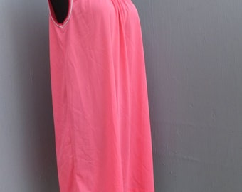 Vintage LORRAINE Nightgown, Bright Pink Nightgown, SMALL, 36 Bust, 91CM