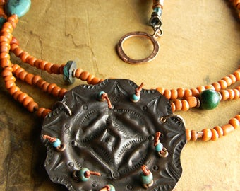 Southwestern Jewelry Pendant Necklace Copper Orange Turquoise Knotted
