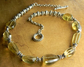 Boho Gemstone Jewelry Lemon Quartz Faceted Nugget Choker Necklace Sterling Silver