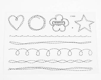 CTMH C1459 Stitched Together Close To My Heart Stitching Sewing Borders Shapes Clear Stamp Retired Discontinued Unmounted Stamps USED