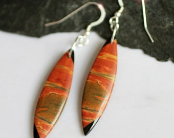 Natures Picasso - Picasso Jasper and Black Onyx Intarsia Sterling Silver Earrings