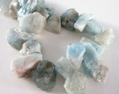 Aquamarine Beads - Raw Rough Cut Rock - Chunky Nugget Aquamarine - Ocean Blue Aqua Unpolished Briolette - Top Drilled - 11 Pcs - Diy Jewelry