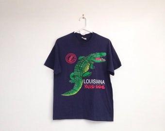 SALE Vintage 1980s Louisiana Yard Dog Alligator Tee