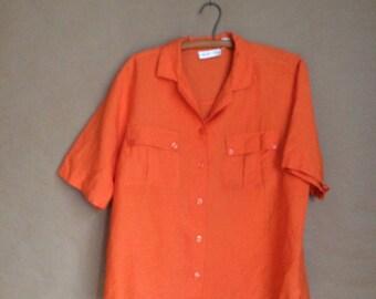 WEEKEND SALE! vintage 90's box cut blouse/ oversized baggy fit / patch pocket shirt / womens