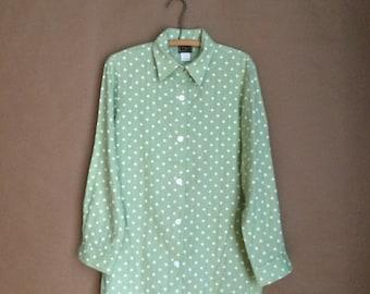 WEEKEND SALE! vintage 90's sanitarium green shirt / linen blouse / polka dot pattern / minimalistic / tunic / womens