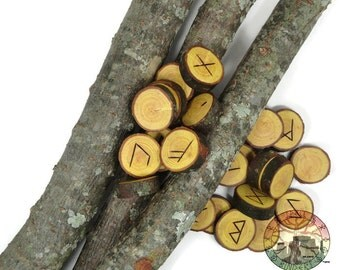 Ash wood Rune Set (Japanese Ash) Elder Futhark with Manual & Pouch Hand Carved