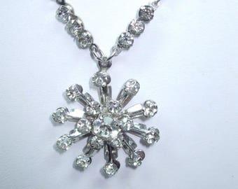 SALE 50% OFF Vintage Beautiful Unique Starburst Rhinestone Silvertone Starburst Necklace