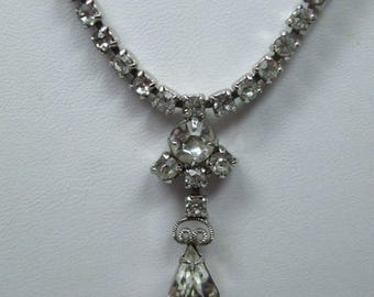 """SALE 50% OFF Vintage Rhinestone  Pear Shaped and Round and square  Drop Necklace 16"""""""