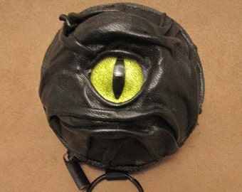 Grichels leather earbud case/wallet - black with custom golden green glitter slit pupil eye