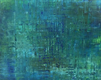 FREE SHIPPING in US. Ocean abstract Painting. Turquoise Blue, Sapphire Blue, Deep Blue. Original abstract painting. Abstract Ocean Art, Teal