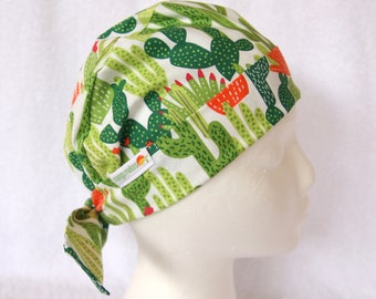Surgical Scrub Hat for women, Scrub cap, Surgical Scrub Cap - Tie Back Hat, Green, orange, and White, Cactus, Desert