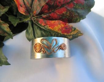 Fun cuff bracelet with copper wire wrap design