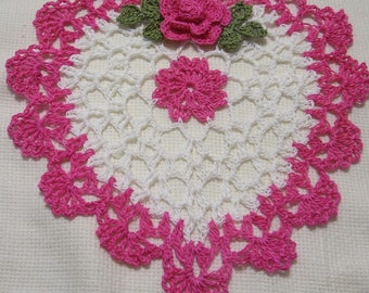crocheted heart doily hot pink and white  handmade