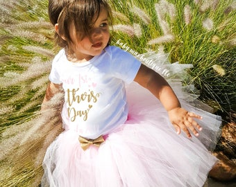 Fathers Day Outfit; Our First Fathers Day, Baby Girl Fathers Day Bodysuit, My First Fathers Day Bodysuit with Tutu; Gerber ® Onesies ® brand