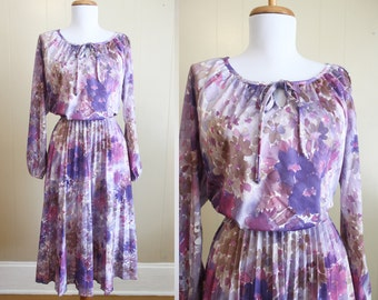 Secretary Dress Vintage 70s Purple Floral Print Pleated Skirt Small