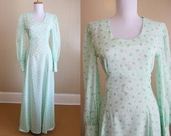 70s Maxi Dress Vintage Floral Mint Green Costume Little House on the Prairie Small