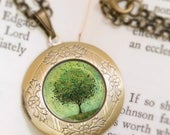 Mothers Day Sale Green Tree Locket Necklace - Bronze Locket - Welcome Change (green) - Wearable Art with Bronze Chain