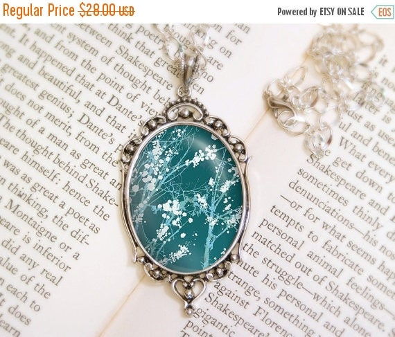Mothers Day Sale Forest Blossoms Necklace - Silver Pendant - Make It Through (blue green) - Wearable Art with Silver Chain