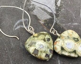 Sterling Silver Medium Hoop Ear Wires with Triangular Green Rhyolite Stone Earrings