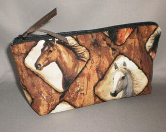 Cosmetic Bag - Makeup Bag - Large Zipper Pouch - Horses - Equestrian