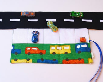 Car play mat - play mat - car roll - boy toy - car play - car carrier - take out toy - cafe toy - fold out car play - busy toy