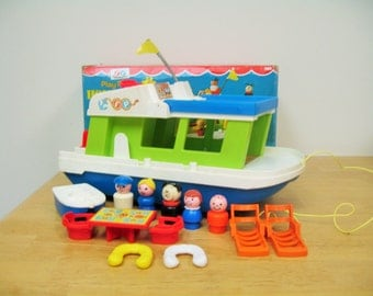 Vintage Fisher Price Houseboat With Box