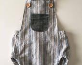 Linen baby sunsuit,short romper, stripe sunsuit, baby sunsuit, summer romper, one piece romper, toddler romper, baby play suit