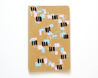 Geometric Pattern Notebook, Random Rectangles, Illustration, Colorful, Hand Drawn, To Do List, OOAK, small gift, stocking stuffer