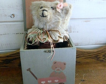 Handmade Bear Jack-In-The-Box - Vintage Box With Pop-Up Bear - Vintage 1984