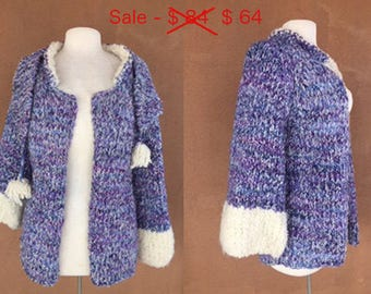 REDUCED PRICE - Hand Woven Wool Knit Jacket with Assorted Pompom Scarf