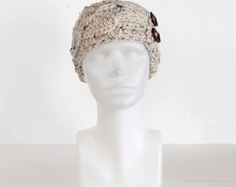 Oatmeal Knit Headband, Speckled Beige Winter Headband, Buttoned Earwarmer