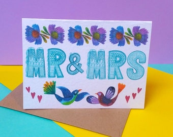 Mr and Mrs card/ his and hers card/wedding day card/ groom to bride card/to my groom card/wedding celebration card /bride and groom card