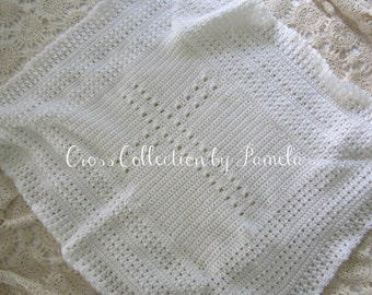 Crochet Christening Blanket Cross PDF Pattern Baby Afghan