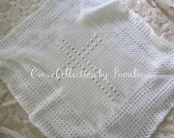 Crochet Patterns Christening Blanket : Crochet Christening Blanket Cross PDF Pattern Baby Afghan
