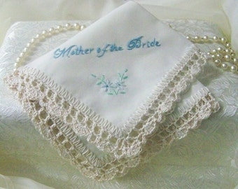 Mother of the Bride Handkerchief, Hanky, Hankie, Ladies, Hand Crochet, Off White, Ecru, Lace, Hand Embroidered, Floral, Ready to ship,
