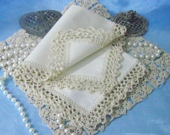 Mother of the Bride, Mother of the Groom, Handkerchief, Hanky, Hankie, Beige, Off white, Hand Crochet, Lace, Personalized, Ready to ship