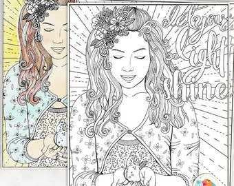 Inspirational Colouring Page, Let Your Light Shine Printable Young Adult Coloring Page, Strong Woman, Teenage Girl, Instant Download