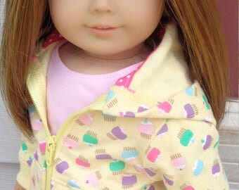 Pleated Skirt, Cupcake Print Hoodie And T-Shirt For American Girl Or Similar 18-Inch Dolls