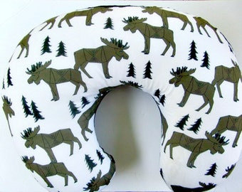 Lumberjack Nursery Moose Baby Shower Mountain Bedding Nursing Pillow for Boys Boppy Lounger Cover Minky Slipcover